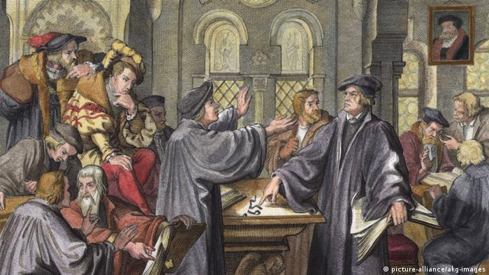 Zwingli and Luther in debate at Marburg (picture-alliance/akg-images)