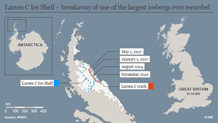 Infographic Larsen C Ice Shelf – breakaway of one of the largest icebergs ever recorded