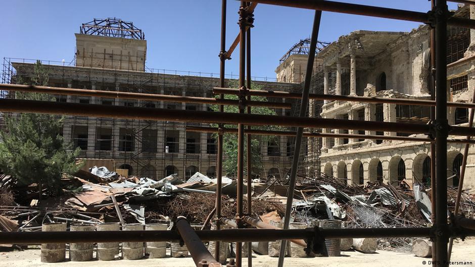Afghan women work to rebuild Kabuls Darul Aman Palace