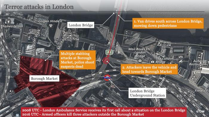 Infografik Karte Terroranschlag in London ENG