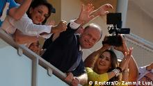 4.6.2017*** Prime Minister and Labour Party leader Joseph Muscat and his wife Michelle Muscat (L) wave to supporters from the balcony of party headquarters after winning a second term in office in Malta's snap general elections, in Hamrun, Malta, June 4, 2017. REUTERS/Darrin Zammit Lupi
