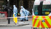 LONDON, ENGLAND - JUNE 05: Forensic officers continue their work along Borough High Street following the June 3rd terror attack on June 5, 2017 in London, England. Seven people were killed and at least 48 injured in terror attacks on London Bridge and Borough Market. Three attackers were shot dead by armed police. (Photo by Jack Taylor/Getty Images)