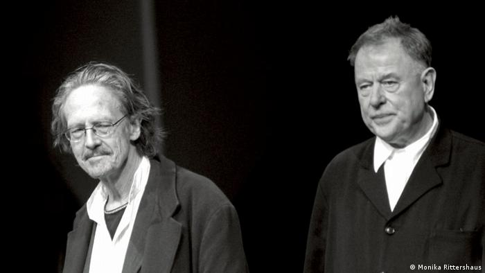 Peter Handke and Claus Peymann after the premiere of Spuren der Verirrten (The Lost) (Photo: Monika Rittershaus)