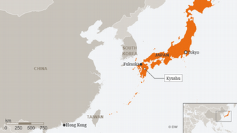 A map showing Kyushu, Japan's southernmost island