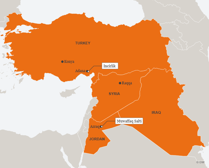 A map showing Turkey, Syria, Iraq and Jordan as well as the air bases used and to be used by Germany