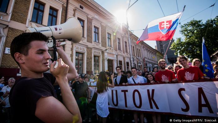 Slowakei Bratislawa Demo gegen Korrupotion