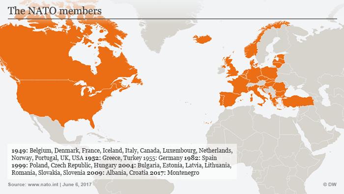 Karte Infografik NATO-Mitgliedsstaaten ENG