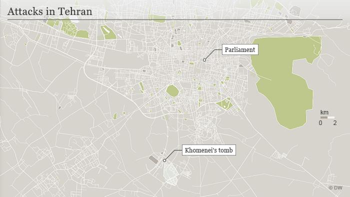 Karte Angriffe in Teheran Iran ENG