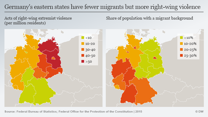 Maps showing right-wing extremism in eastern and western Germany