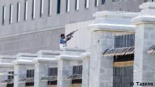 Titel: Terror Teheran Iran Am Vormittag des 07.06.2017 wurde das iranische Parlament in Teheran und das Mausoleum des Gründern der Islamischen Republik von zwei Gruppen von Terroristen bestürmt. IS hat anscheinend die Verantwortung übernommen. Mindestens sind 12 Menschen getötet worden. Quelle: Tasnim