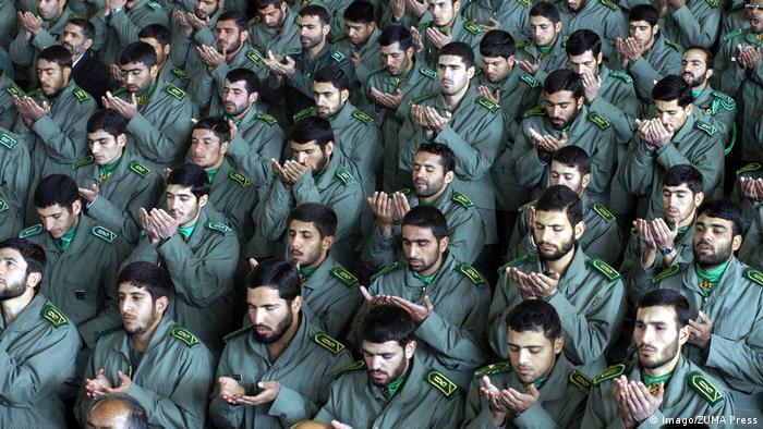 Iranian Revolutionary Guard Corps members during Friday prayers in Tehran