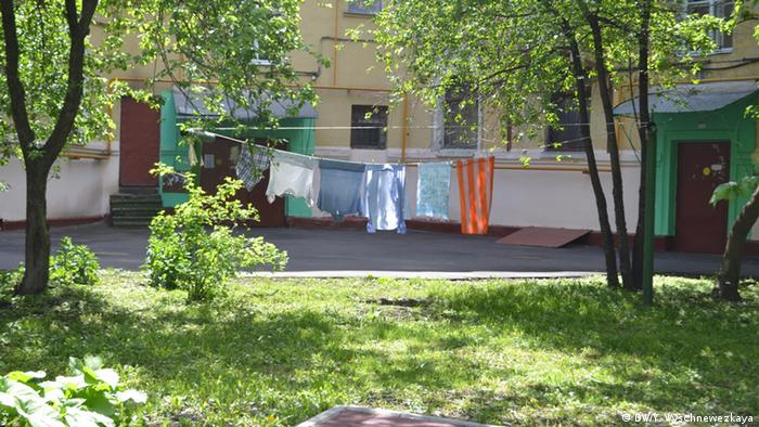 Белье в московском дворике