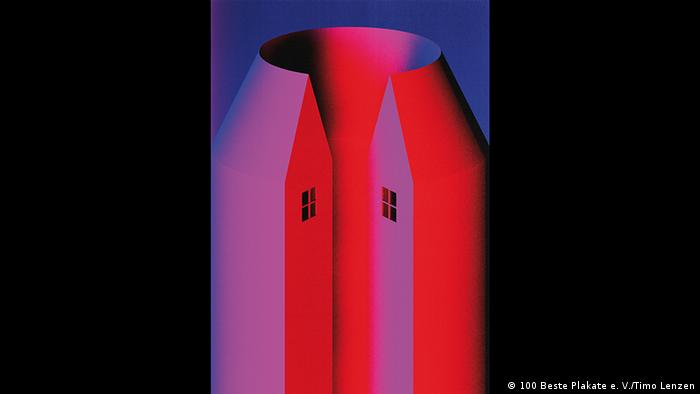 A red and pink house in the shape of a cone (100 Beste Plakate e. V./Timo Lenzen)