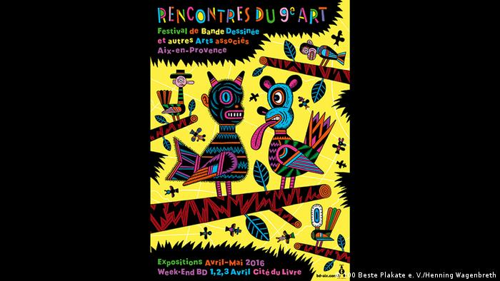 Abstractly drawn animals on the poster promoting the yearly Comics Festival in the French city of Aix-en-Provence (100 Beste Plakate e. V./Henning Wagenbreth)