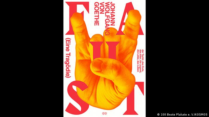 Poster showing a hand printed in orange for a production of Goethe's Faust. (100 Beste Plakate e. V./KOSMOS)