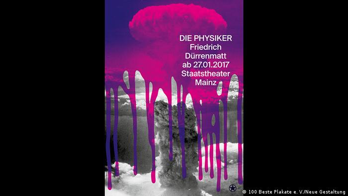 A mushroom cloud covered by purple paint on a poster for the play Die Physiker by Dürrenmatt (100 Beste Plakate e. V./Neue Gestaltung)