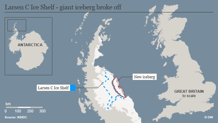 Infografik Karte Larsen C Ice Shelf