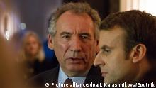 3036925 02/23/2017 Head of the MoDem centrist democratic movement Francois Bayrou and French presidential candidate, leader of the En Marche movement Emmanuel Macron (right) after a meeting in the Palais de Tokyo in Paris Irina Kalashnikova/Sputnik |