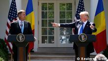 Donald Trump und Klaus Iohannis Pressekonferenz in Washington
