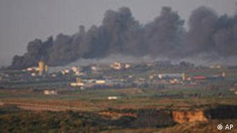 Smoke rises during an Israeli army operation in the Gaza Strip