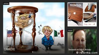 Screenshot von Karikatur von Merkel und Trump auf der Seite reforma.com (reforma.com)