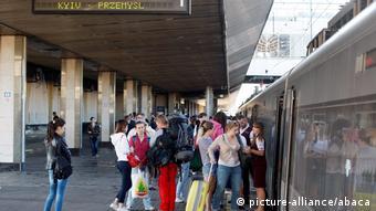 Посадка на поезд Киев-Перемышль