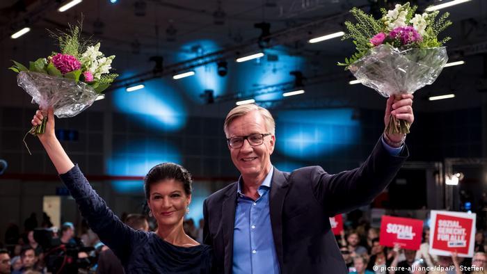 Políticos alemães do partido A Esquerda, Sahra Wagenknech e Dietmar Bartsch