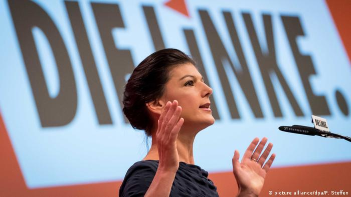 Sahra Wagenknecht speaking at a Left party rally (picture alliance/dpa/P. Steffen)