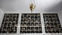 June 10, 2015*** The remains of the victims of a massacre are seen inside a mausoleum at Distomo village about 160km (100 miles) northwest of Athens, Greece, on Wednesday, June 10, 2015. Nazi troops executed 214 civilians on June 10, 1944 in Distomo village, central Greece, and the Greek government has revived the issue of German reparation for crimes like these. (AP Photo/Yorgos Karahalis) |