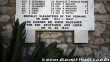 June 10, 2015*** A memorial with the names of the victims of a massacre is seen outside a church at Distomo village about 160km (100 miles) northwest of Athens, Greece, on Wednesday, June 10, 2015. Nazi troops executed 214 civilians on June 10, 1944 in Distomo village, central Greece, and the Greek government has revived the issue of German reparation for crimes like these. (AP Photo/Yorgos Karahalis) |
