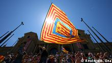 A Catalan separatist flag being flown at a rally