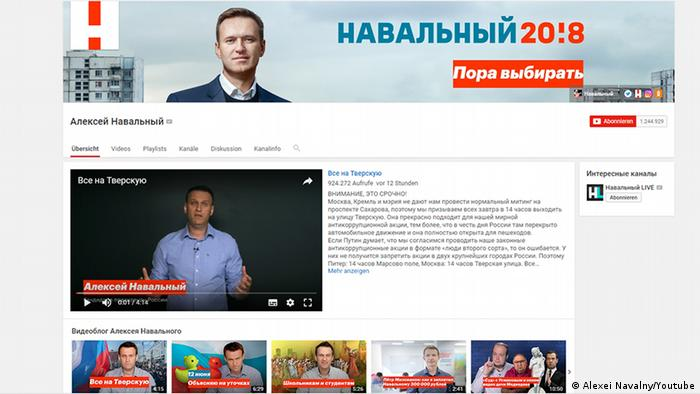 Screenshot Website Youtube Alexei Navalny (Alexei Navalny/Youtube)