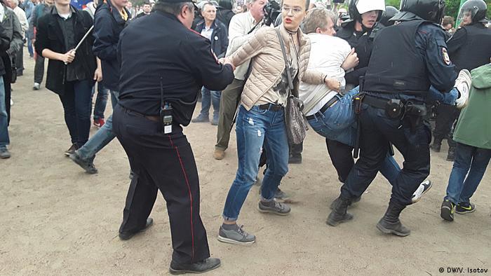 Russland Proteste in Sankt-Petersburg- Marsowo Pole