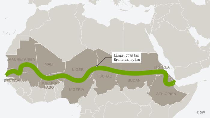 Infografik Grüne Mauer in Afrika ohne Überschrift