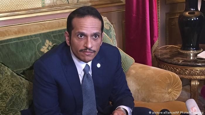 Frankreich Außenminister Katars Sheikh Mohammed bin Abdulrahman Al Thani