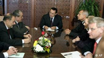 Egyptian President Hosni Mubarak, center, meets with European Union diplomatic mission to the Middle East from left to right, French Foreign Minister Bernard Kouchner, EU foreign policy chief Javier Solana, Czech Foreign Minister Karel Schwarzenberg, Egyptian Foreign Minister Ahmed Aboul Gheit, EU External Relations Commissioner Benita Ferrero-Waldner, and Swedish Foreign Minister Carl Bildt
