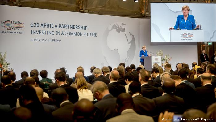 German Chancellor Angela Merkel speaking at the opening of the G20 Africa Partnership conference in Berlin in 2017
