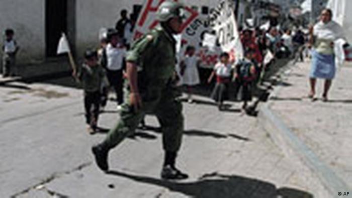 Protesta del movimiento zapatista en Chiapas, México.
