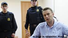12.06.2017 +++ Russian opposition leader Alexei Navalny speaks after a hearing in a court in Moscow, late on June 12, 2017. Navalny was sentenced to 30 days in prison for calling unauthorized demonstrations held throughout Russia. / AFP PHOTO / VASILY MAXIMOV (Photo credit should read VASILY MAXIMOV/AFP/Getty Images)