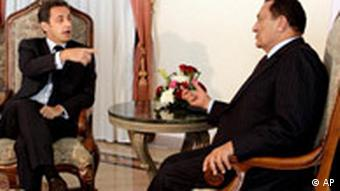 Egyptian President Hosni Mubarak, right, meets with French President Nicolas Sarkozy at the Red Sea resort of Sharm el-Sheik