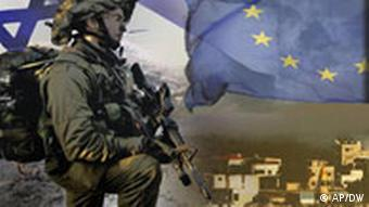 An Israeli solidier in front of the EU and Israel flags and a shot of Gaza