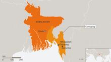 Karte Bangladesch Rangamati, Chittagong and Bandarban ENG
