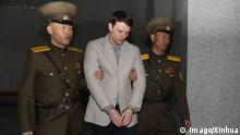 (160316) -- PYONGYANG, March 16, 2016 -- American student Otto Frederick Warmbier (C) arrives for his trial in Pyongyang, capital of the Democratic People s Republic of Korea (DPRK), March 16, 2016. American student Otto Frederick Warmbier held by the Democratic People s Republic of Korea (DPRK) was sentenced to 15 years of hard labor for anti-DPRK crimes, the DPRK Supreme Court announced Wednesday. ) DPRK-PYONGYANG-AMERICAN STUDENT-SENTENCE GuoxYina PUBLICATIONxNOTxINxCHN Pyongyang March 16 2016 American Student Otto Frederick C arrives for His Trial in Pyongyang Capital of The Democratic Celebrities S Republic of Korea DPRK March 16 2016 American Student Otto Frederick Hero by The Democratic Celebrities S Republic of Korea DPRK what Sentenced to 15 Years of Hard Laboratory for Anti DPRK CRIMES The DPRK Supreme Court announced Wednesday DPRK Pyongyang American Student Sentence GuoxYina PUBLICATIONxNOTxINxCHN