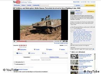 Ein Video der israelischen Armee auf YouTube, Quelle: DW