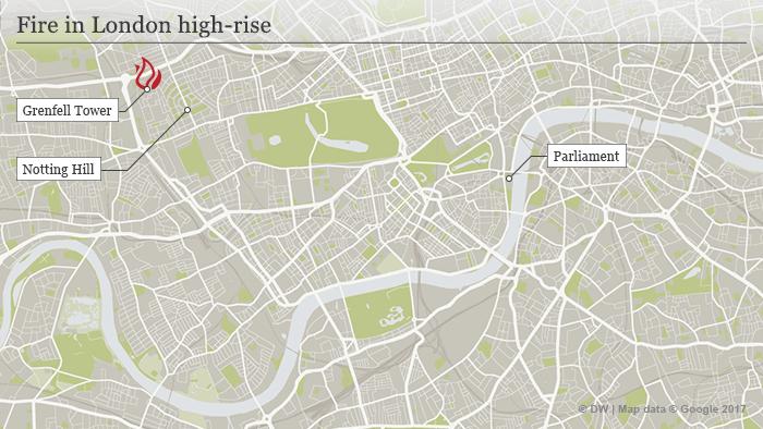 Map showing location of blaze in London
