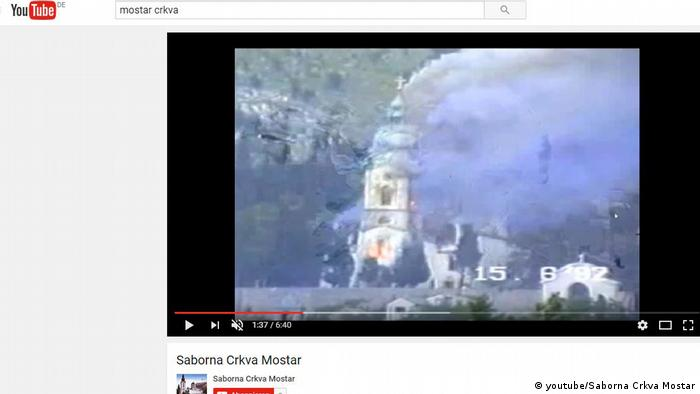 Screenshot YouTube der brennenden serbisch orthodoxen Kirche in Mostar (youtube/Saborna Crkva Mostar)