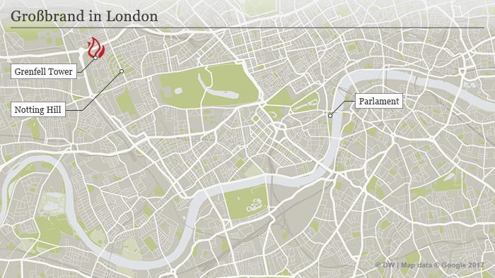 Karte London Großbrand DEU