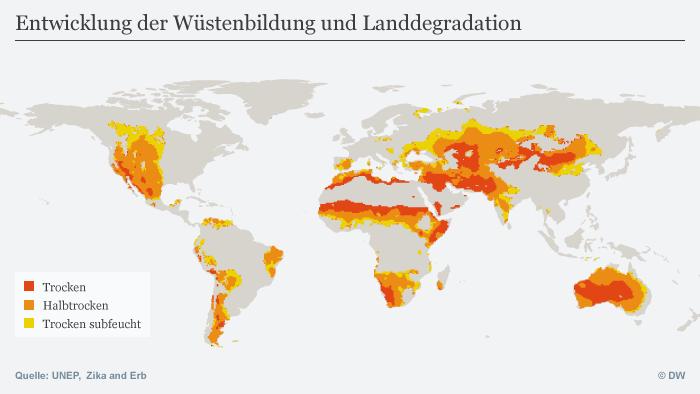 Infografik Entwicklung der Wüstenbildung und Landdegradation DEU