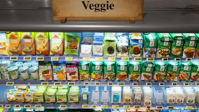 Vegan products in supermarket aisle
