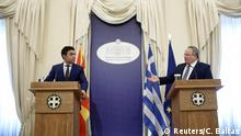 14.06.2017****Greek Foreign Minister Nikos Kotzias (R) and his Macedonian counterpart Nikola Dimitrov attend a news conference following their meeting at the Foreign Μinistry in Athens, Greece, June 14, 2017. REUTERS/Costas Baltas